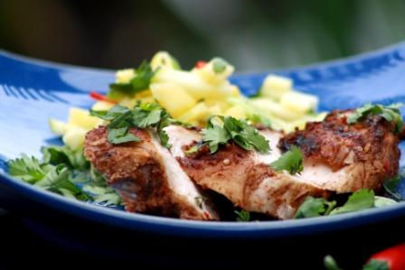 JAMAICAN STYLE BARBEQUE CHICKEN WITH A FRESH PINEAPPLE SALSA